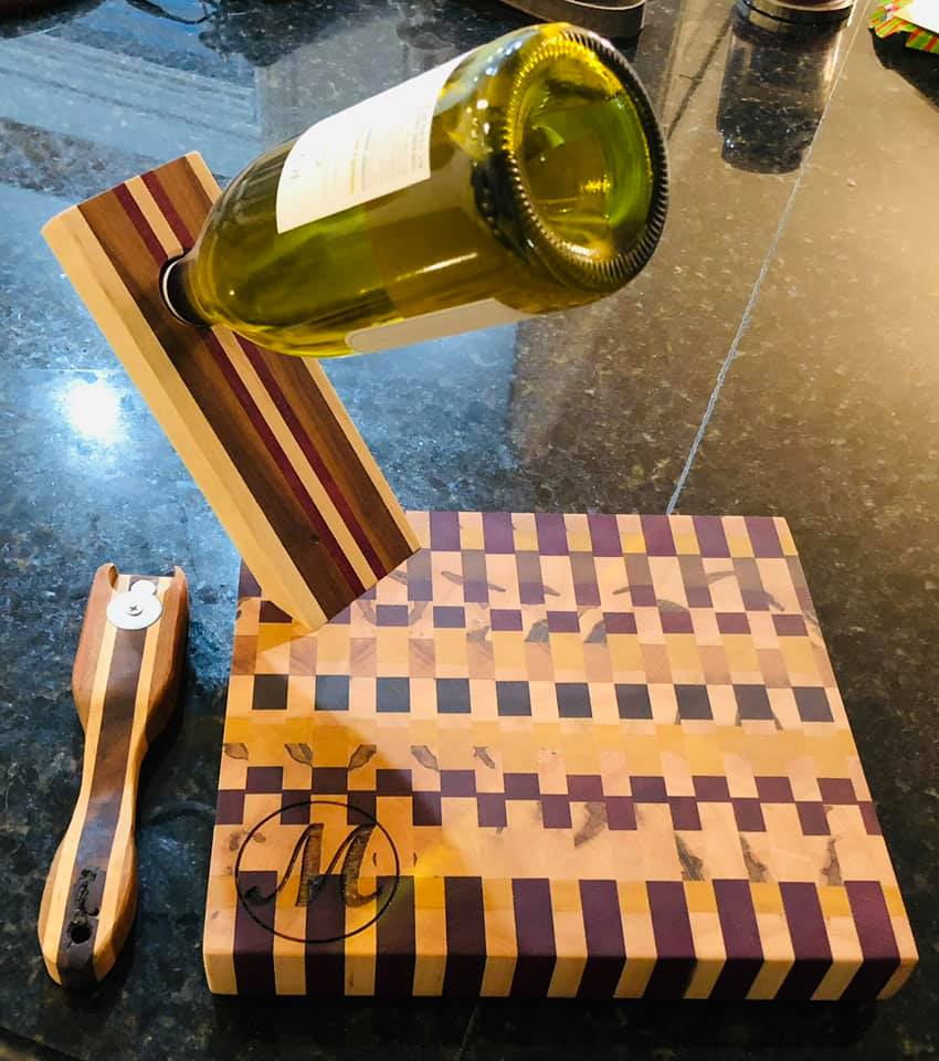 Cutting Board and Wine Holder